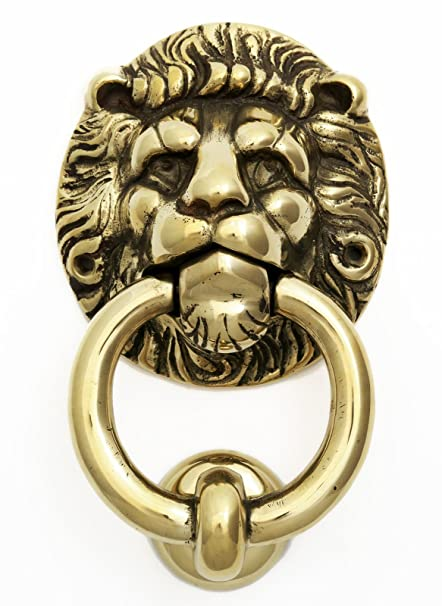 Large Brass Lionu0027s Head Ring Door Knocker