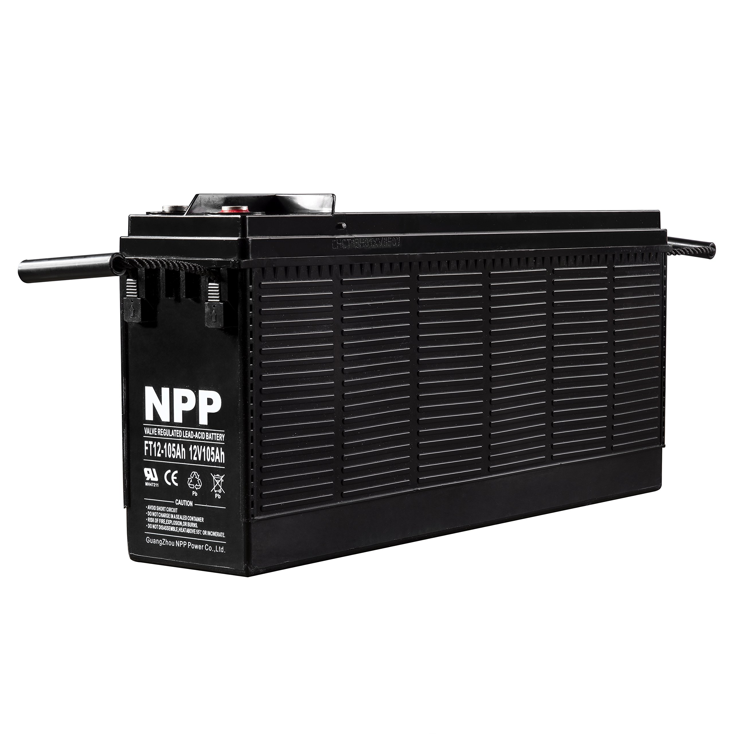 NPP 12V 100Ah FT12 105Ah Front Access Telecom Deep Cycle AGM Battery With Button Style Terminals