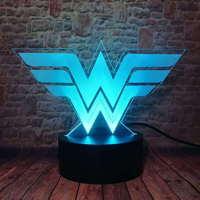 DC Comics Wonder Woman Logo Symbol Marvel Superhero Justice League Sign Funny 3D Visual LED 7 Colors Change LED Night Light Mood Kids Room Home Table Decor & Child Teenagers Adults Toys Xmas Gifts