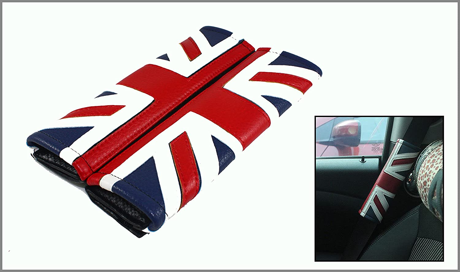 Flypc Seat Belt Covers Safety Shoulder Strap Cushion Harness Pad for Mini Cooper Cars Embroidered Badge Adults and Children Shoulder Pad Opening Fiber 2 Pack Red /& Blue Union Jack Flag Style