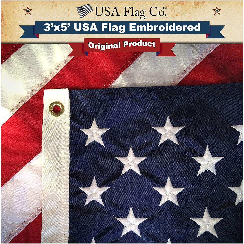 3x5 Embroidered Sewn USA 48 Stars Old Glory 300D Nylon Flag 3/'x5/' 48 Star Clips