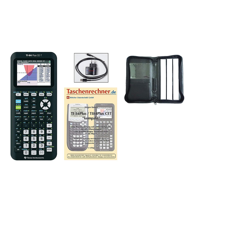 TI-84 Plus CET + Schutztasche + Fachbuch + Ladegerät