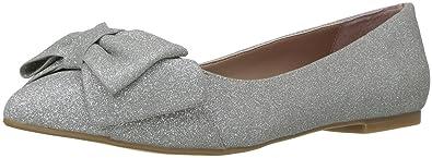 Womens Cindi Pointed Toe Flat, Silver, 7 M US Betsey Johnson