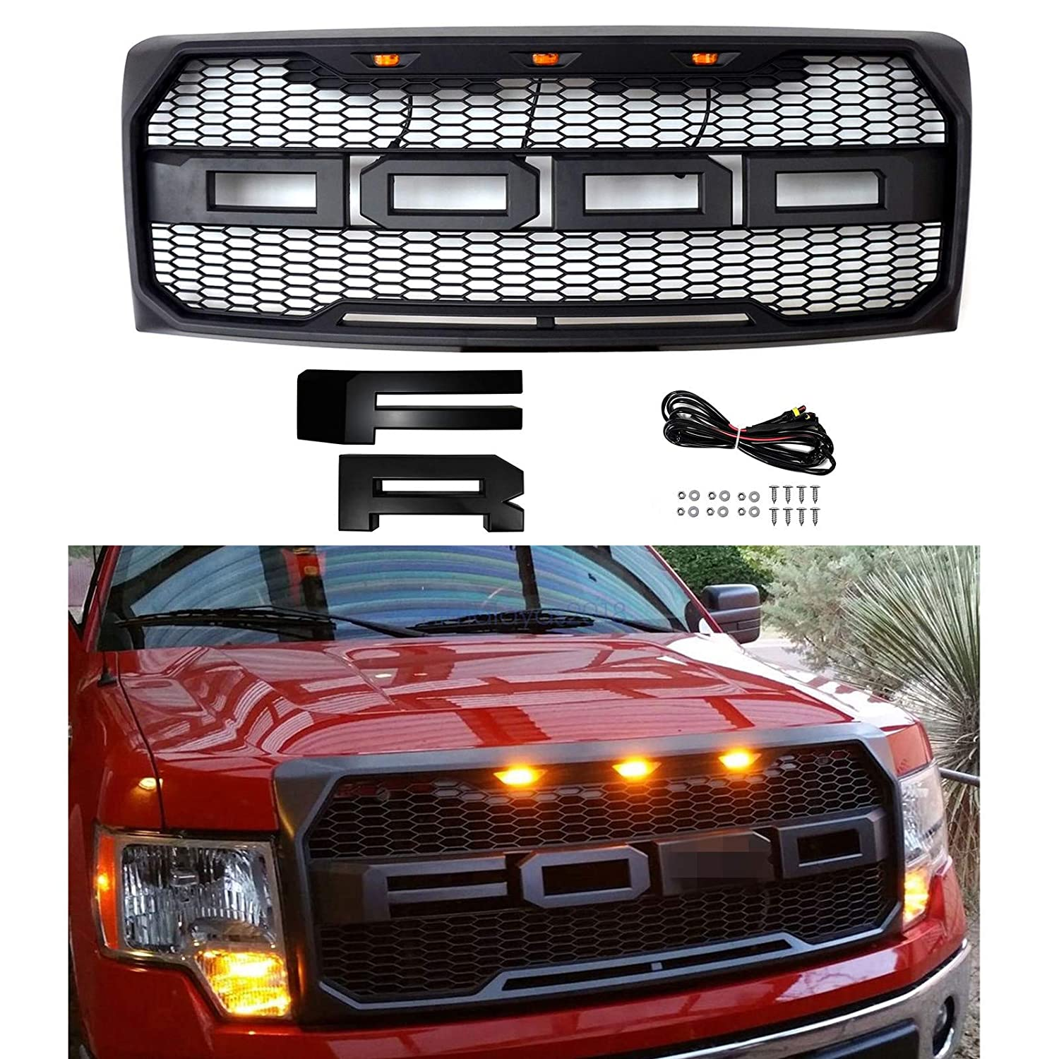 Front Grill for 2009 2010 2011 2012 2013 2014 FORD F150 Raptor Style Gille With Amber LED lights and F/&R Letters Black