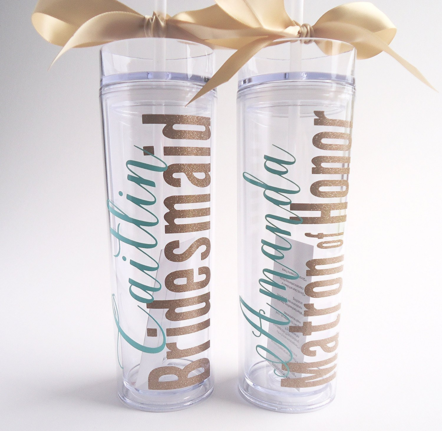 acrylic cup,bridal party gifts skinny tumbler Set of 8 Personalized Wedding Party Acrylic Double Walled Tumblers BPA Free