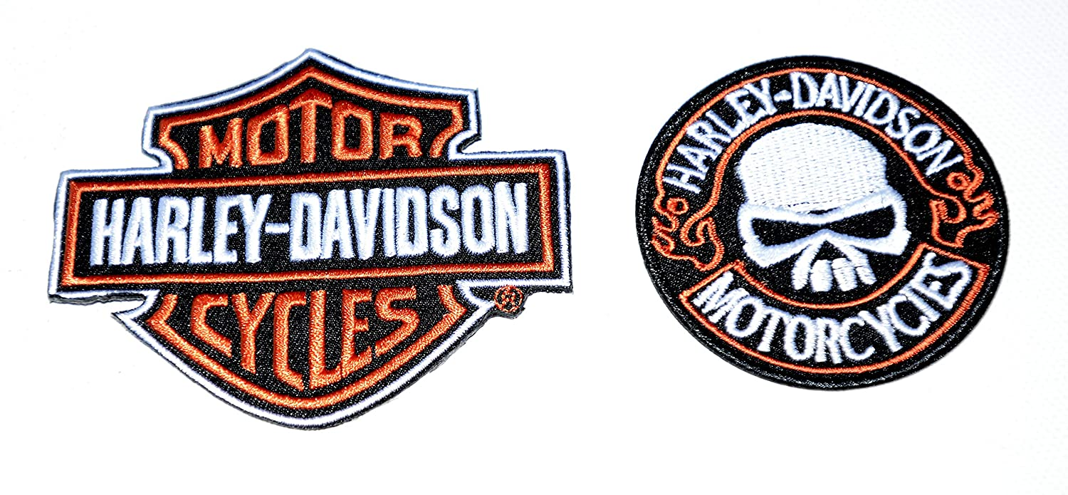 Next Day Delivery Set of 2 Harley Davidson Iron On Patches Born to be Wild Harley Davidson Motor Cycles Sent from u.k .Sold by Deal from Home