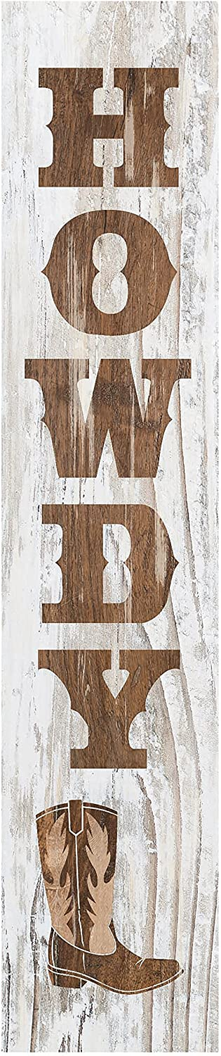P. Graham Dunn Howdy Cowboy Boot Whitewash 7.25 x 1.5 Inch Pine Wood Vertical Tabletop Block Sign