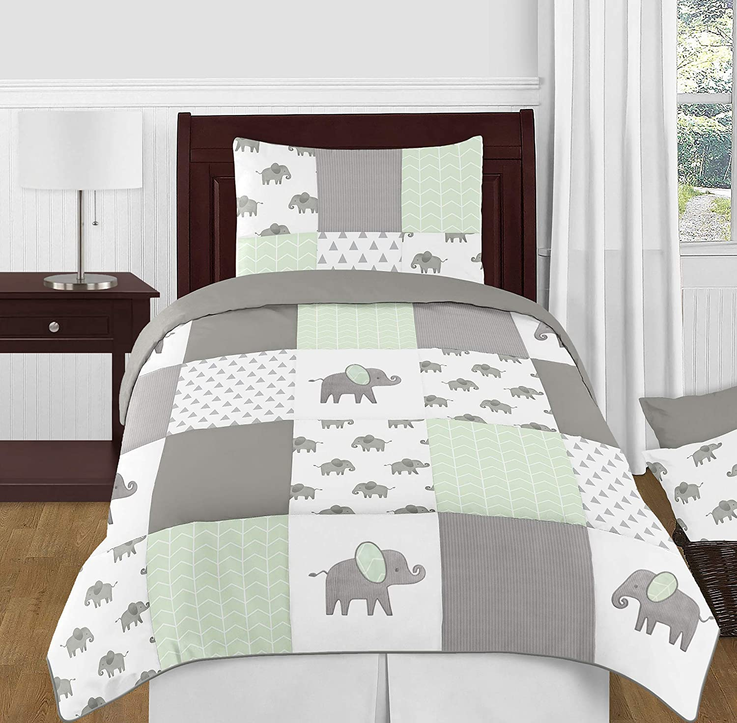 Sweet Jojo Designs Grey and White Wallpaper Wall Border for Mint Watercolor Elephant Safari Collection