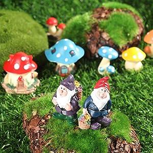 13PCS Miniature Gnome Mushroom House Figurines, Fairy Garden Mini Accessories Kit, Micro Landscape, Moss Terrarium, Resin Craft, Gift