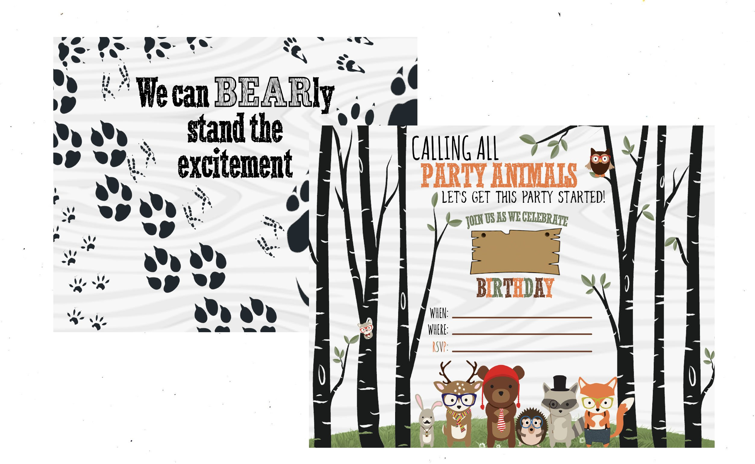 Woodland Forest Friends Hipster Themed Party Supply Fox Hedgehog (Invitation)