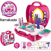 Ramakada Make Up and Cosmetic Set Suitcase, Durable Kit Hair Salon with 21 Pieces Accessory for Girls