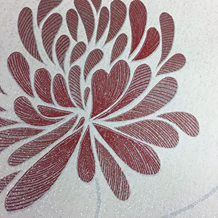 Cream Silver Red Flower Floral Wallpaper Glitter Luxury Vinyl Deco Discount