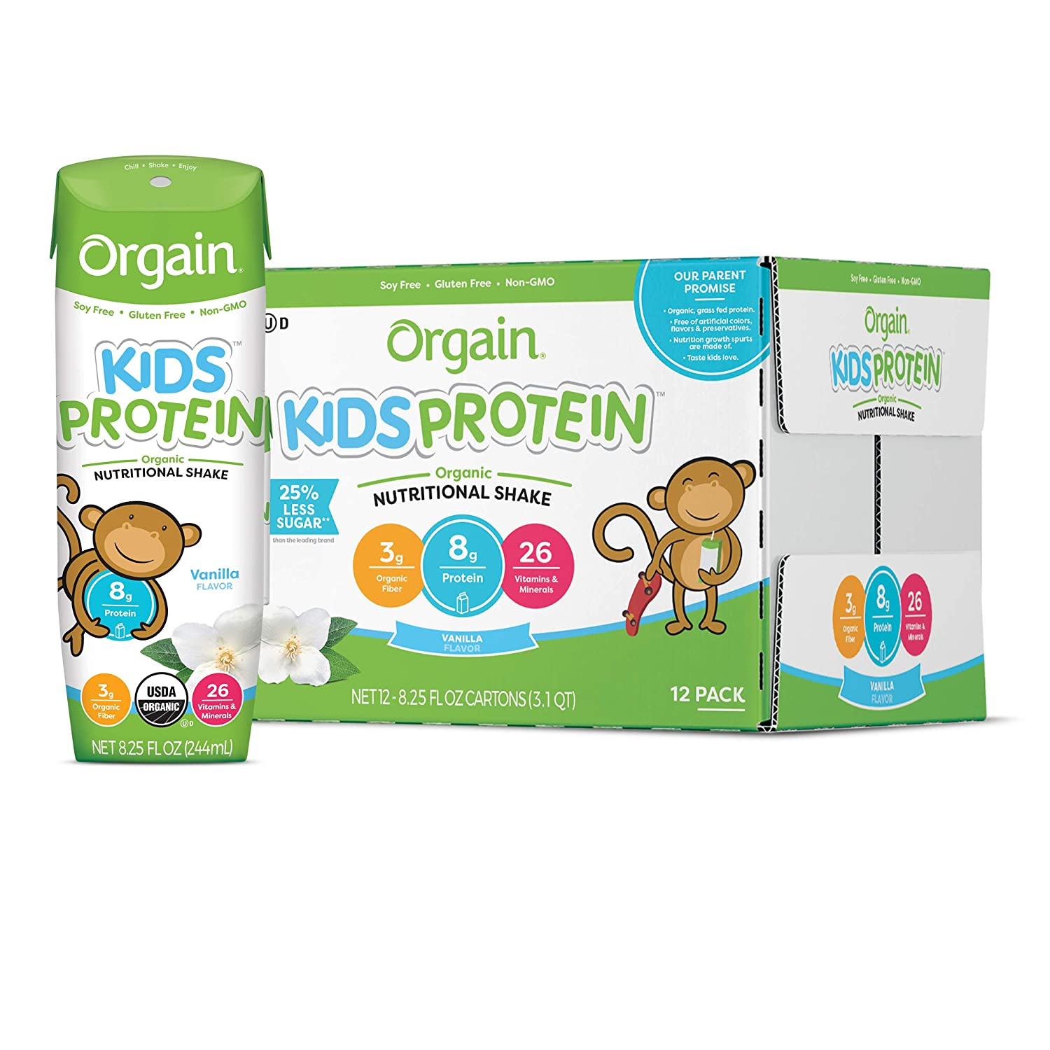 Orgain Organic Kids Protein Nutritional Shake, Vanilla - Great for Breakfast & Snacks, 26 Vitamins & Minerals, 10 Fruits & Vegetables, Gluten Free, Soy Free, 8.25 Oz, 12 Count (Packaging May Vary) : Meal Replacement Drinks : Grocery & Gourmet Food