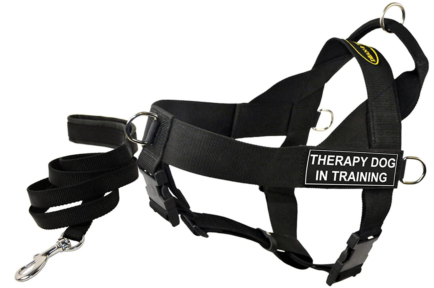 Dean and Tyler Bundle One DT Universal Harness, Therapy Dog in Training, XS (21, 25) + One Padded Puppy Leash, 6-Feet Stainless Snap, Black