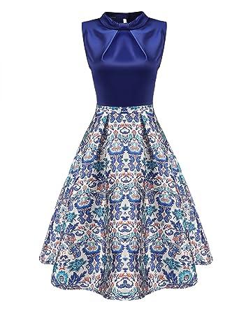 Zeagoo Damen Rockabilly Kleid Vintage Partykleid Blumen Muster elegant  Knielang A-Line Kleid Stitching Hochzeit Party Abendkleid Cocktail  Amazon. de  ... 99af19ac29