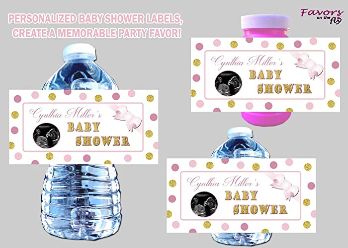 Amazon Com 30 Pink Gold Princess Baby Shower Water Bottle Labels