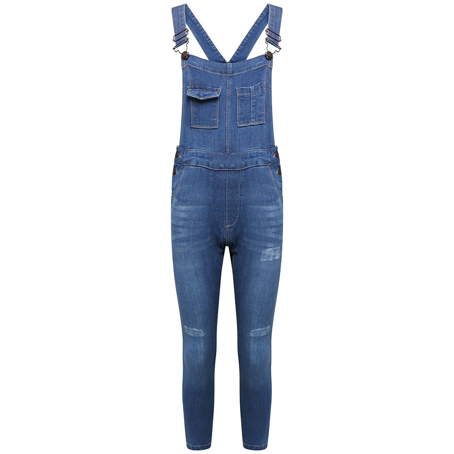 MISS CUTE Girls Denim Dungarees Stretch Fade Blue Wash Slim Fit Skinny Jeans Jumpsuit All In One