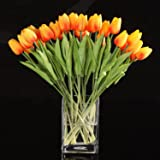 TOOGOO(R) 10pcs Tulip Flower Latex Real Touch for Wedding Bouquet Decor Best Quality Flowers (orange tulip)