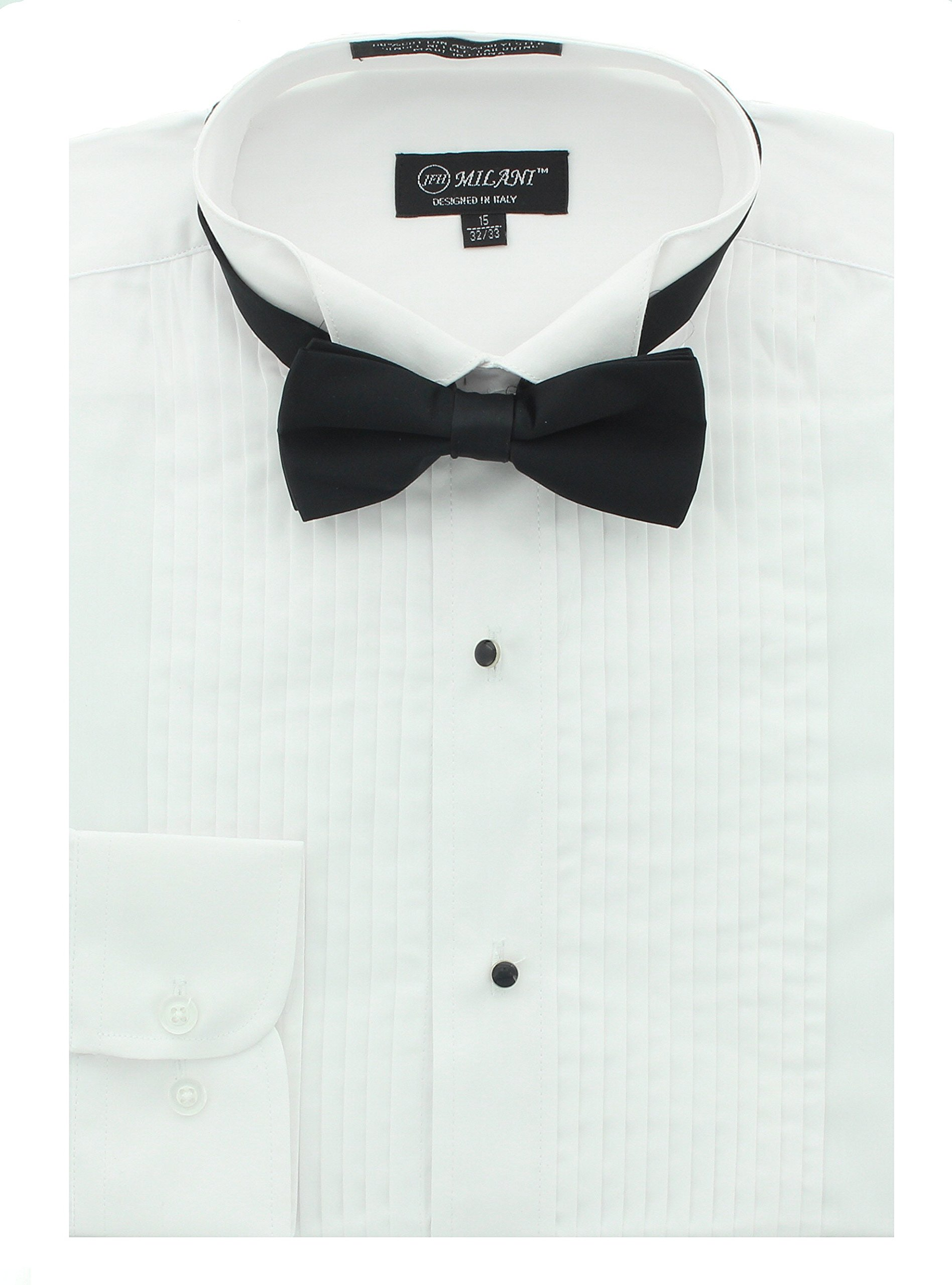 Milani Men's Tuxedo Shirt With Convertible Cuff And Bow Tie 16'', 34/35 White