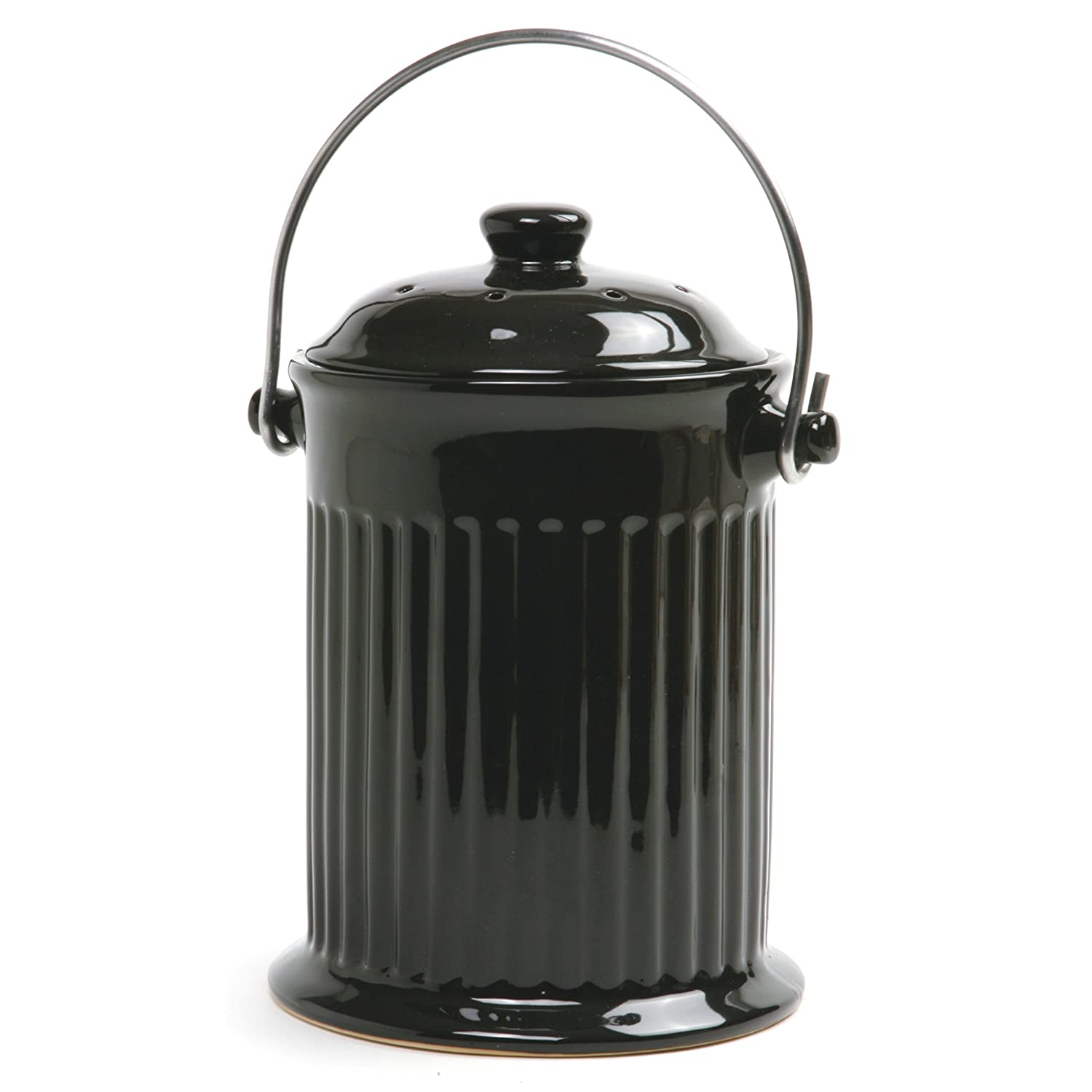 Amazon.com: Norpro Ceramic Compost Keeper, Black: Compost Bins: Kitchen U0026  Dining