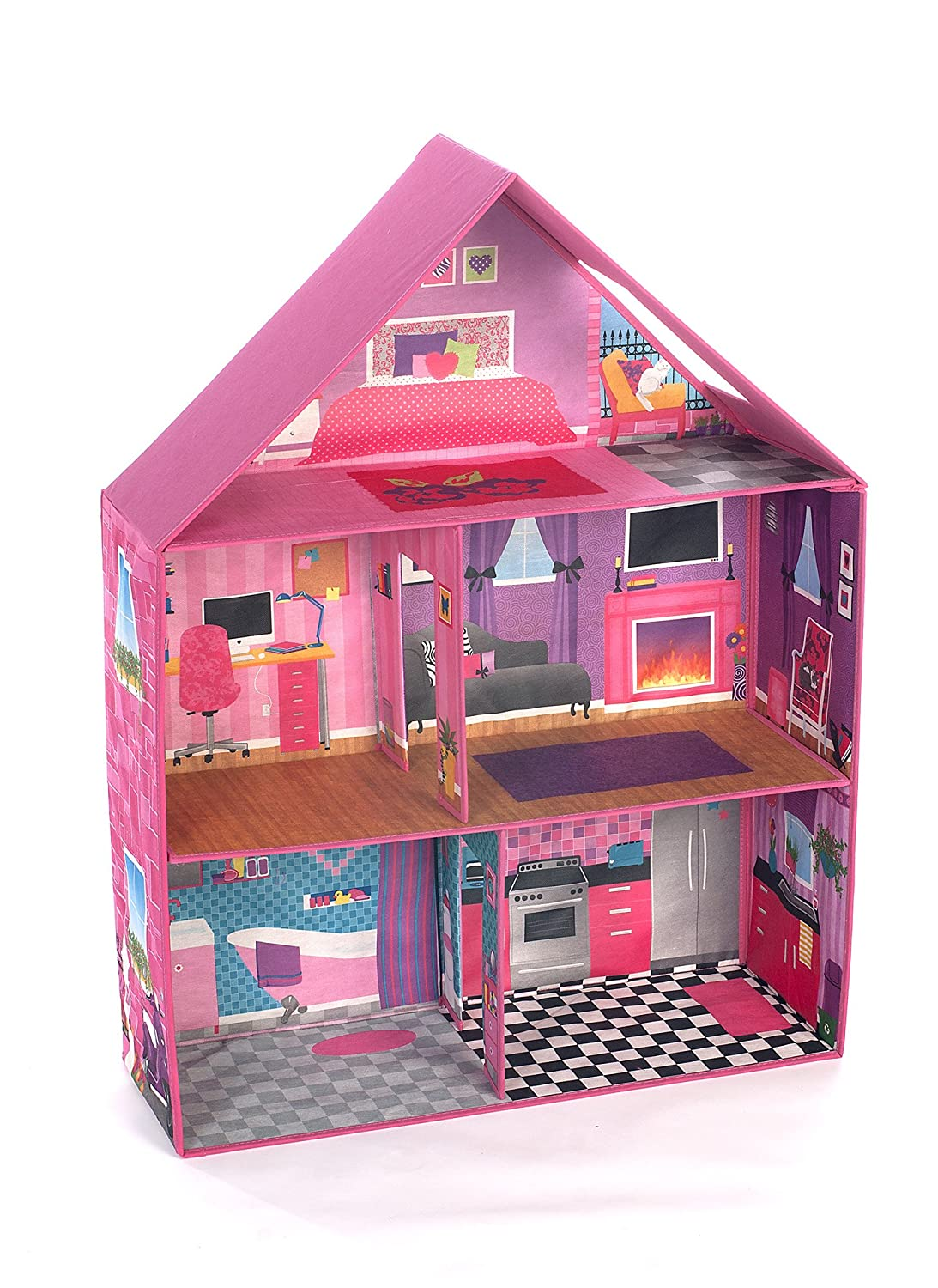 Modern Pink Barbie Dream House Home Play Room Set Girls Toy Doll