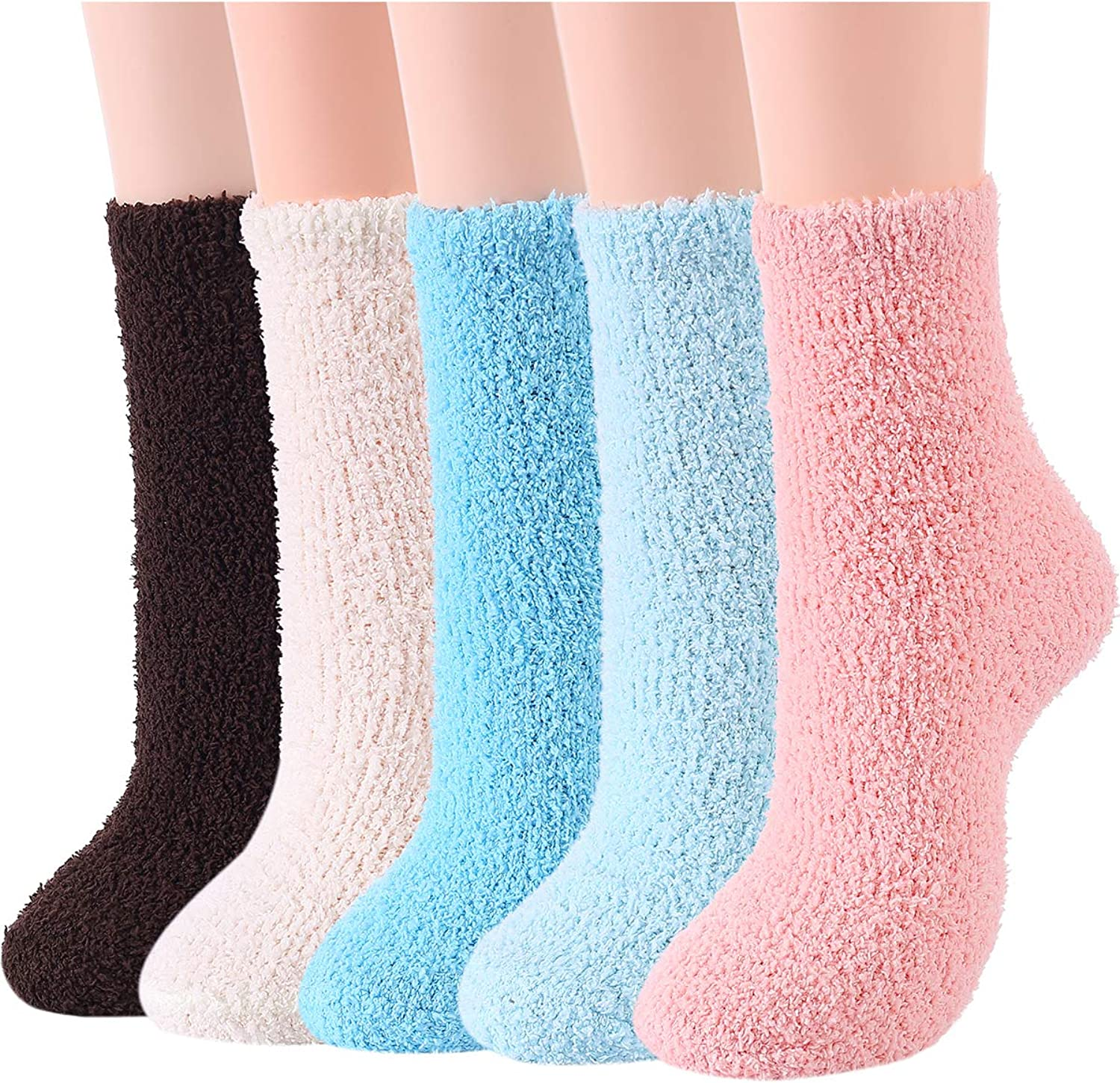 Century Star Womens Fuzzy Fluffy Cozy Warm Super Soft Slipper Socks Microfiber 3-8 Pairs Home Socks