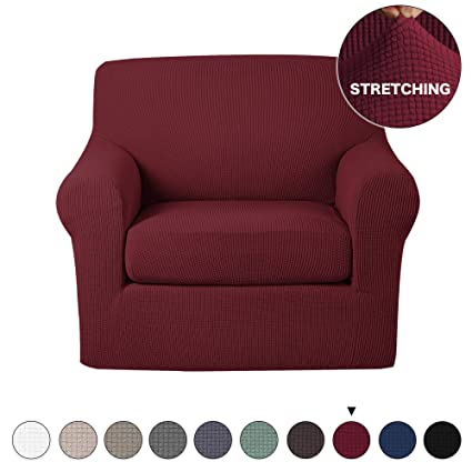 Stretch Chair Slipcover 2 Pieces Furniture Cover Protector with Spandex  Jacquard Checked Pattern 0497d5722