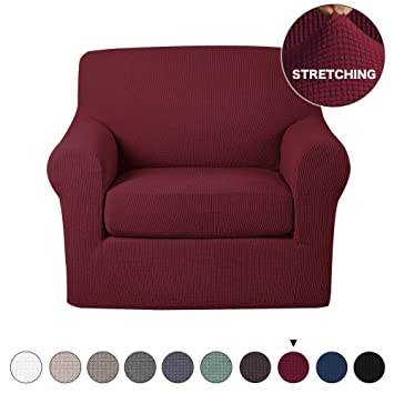 Wondrous Stretch Chair Slipcover 2 Pieces Couch Cover Furniture Cover Protector With Elastic Bottom Spandex Jacquard Checked Fabric With Small Check For Living Download Free Architecture Designs Embacsunscenecom