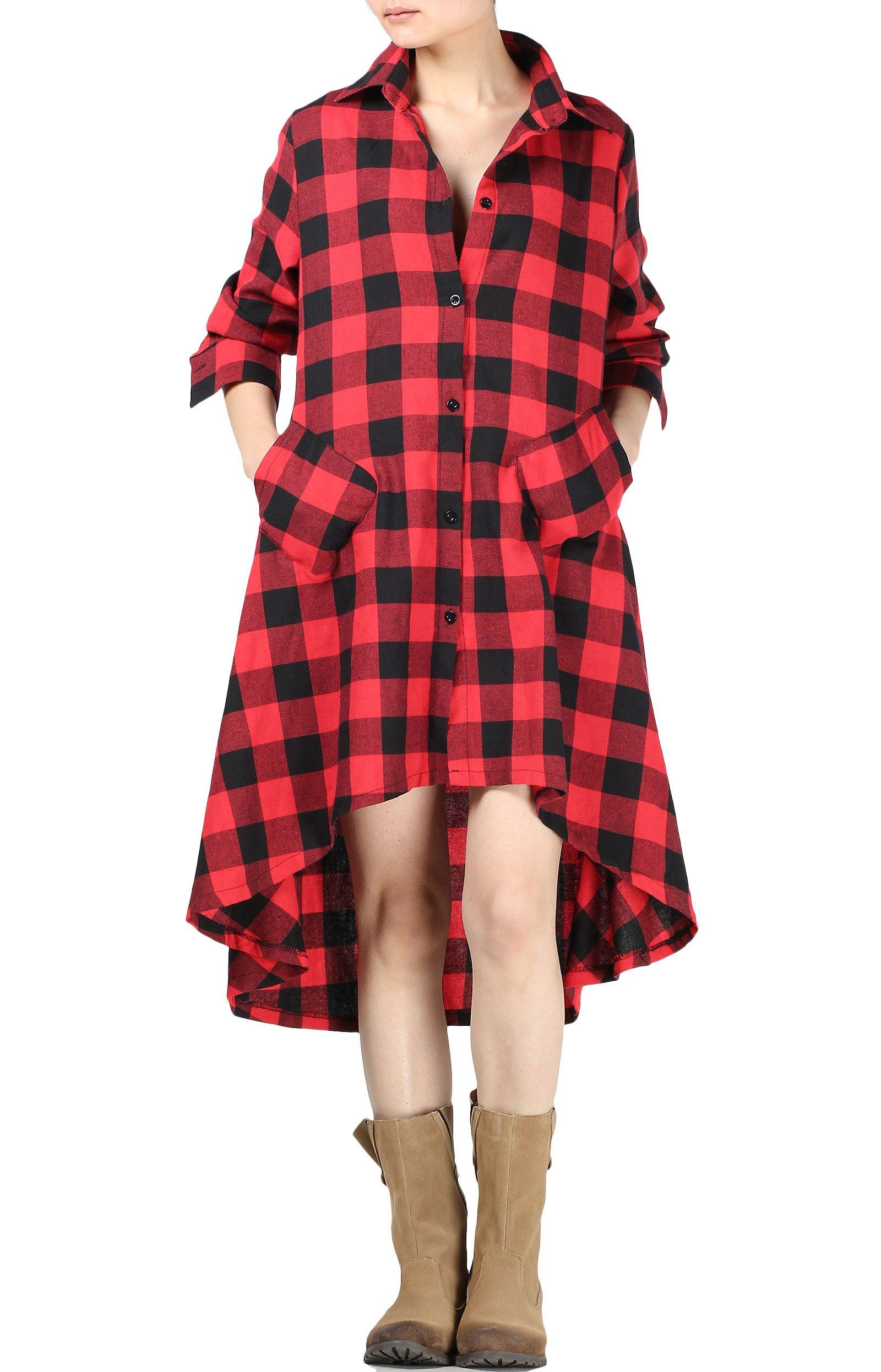 Mordenmiss Women's New Plaid Long Sleeve Button Down Hi-Low Hem Shirt Dress XL-Red