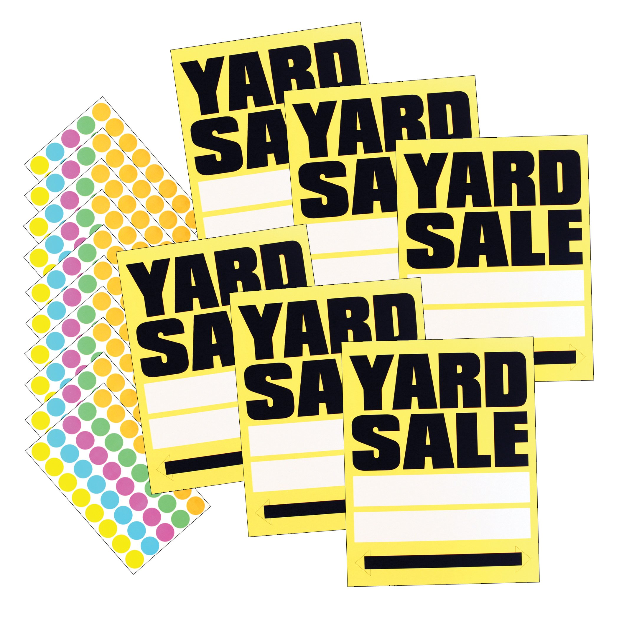 HeadLine Sign - Large YARD SALE Signs with 400 Sticker Sale Tags, Yellow/Black, 11 x 14 Inches, 6-Pack of Signs (5505)