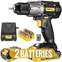 Deals on TECCPO Cordless Drill 20V Drill Driver 2x2000mAh Batteries