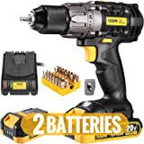 Cordless Drill, 20V Drill Driver 2x2000mAh Batteries, 530 In-lbs Torque, 24+1 Torque Setting, Fast Charger 2.0A, 0…
