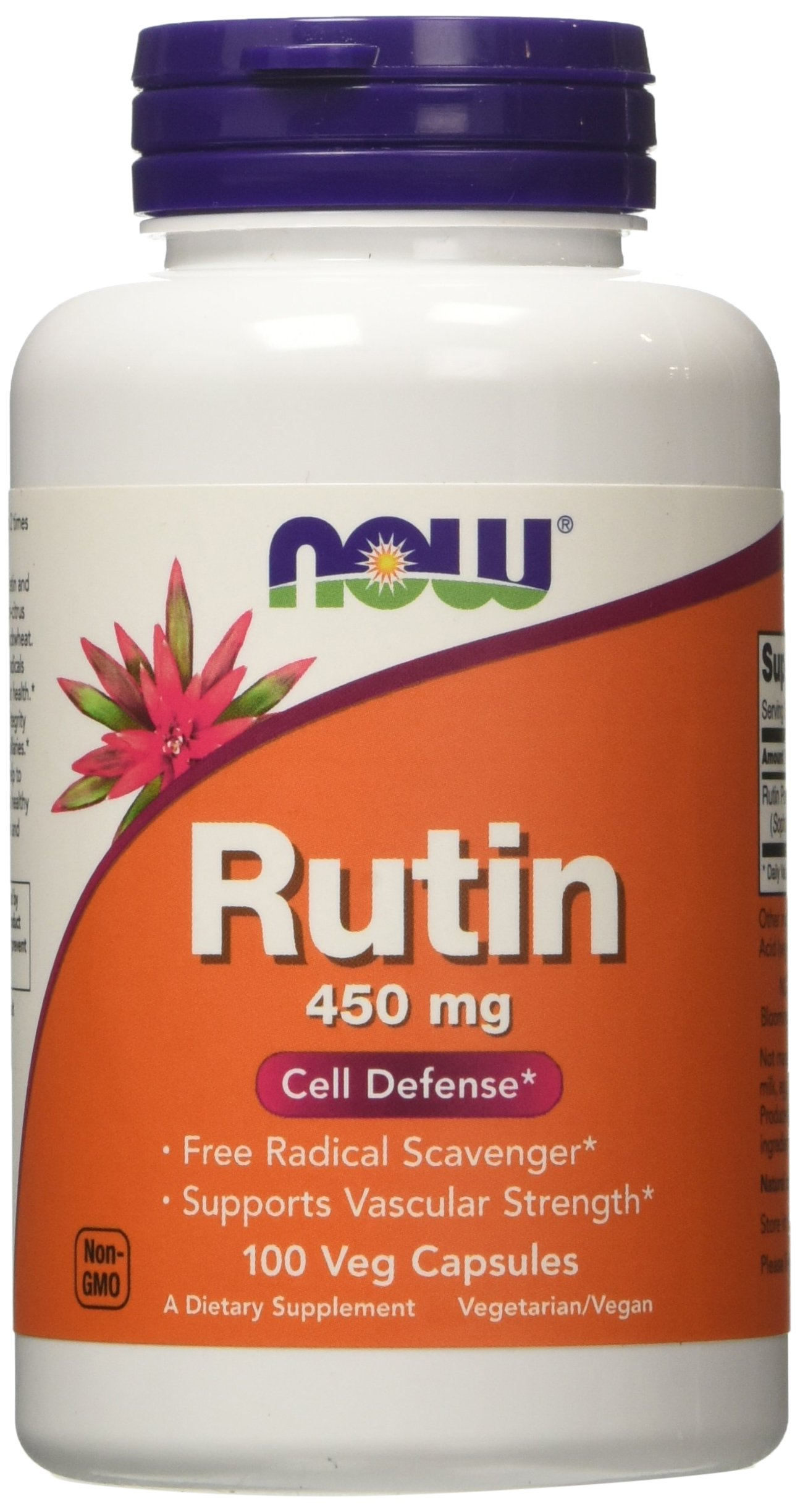 Now Foods | Rutin | 450 mg | 100 vegan capsules | gluten free | without genetic technology