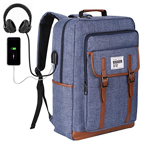 4193d5e2d7 KUSOOFA Zaino Uomo, Zaino Laptop PC 17.3 Pollici con Porta USB e Cuffie Jack ,
