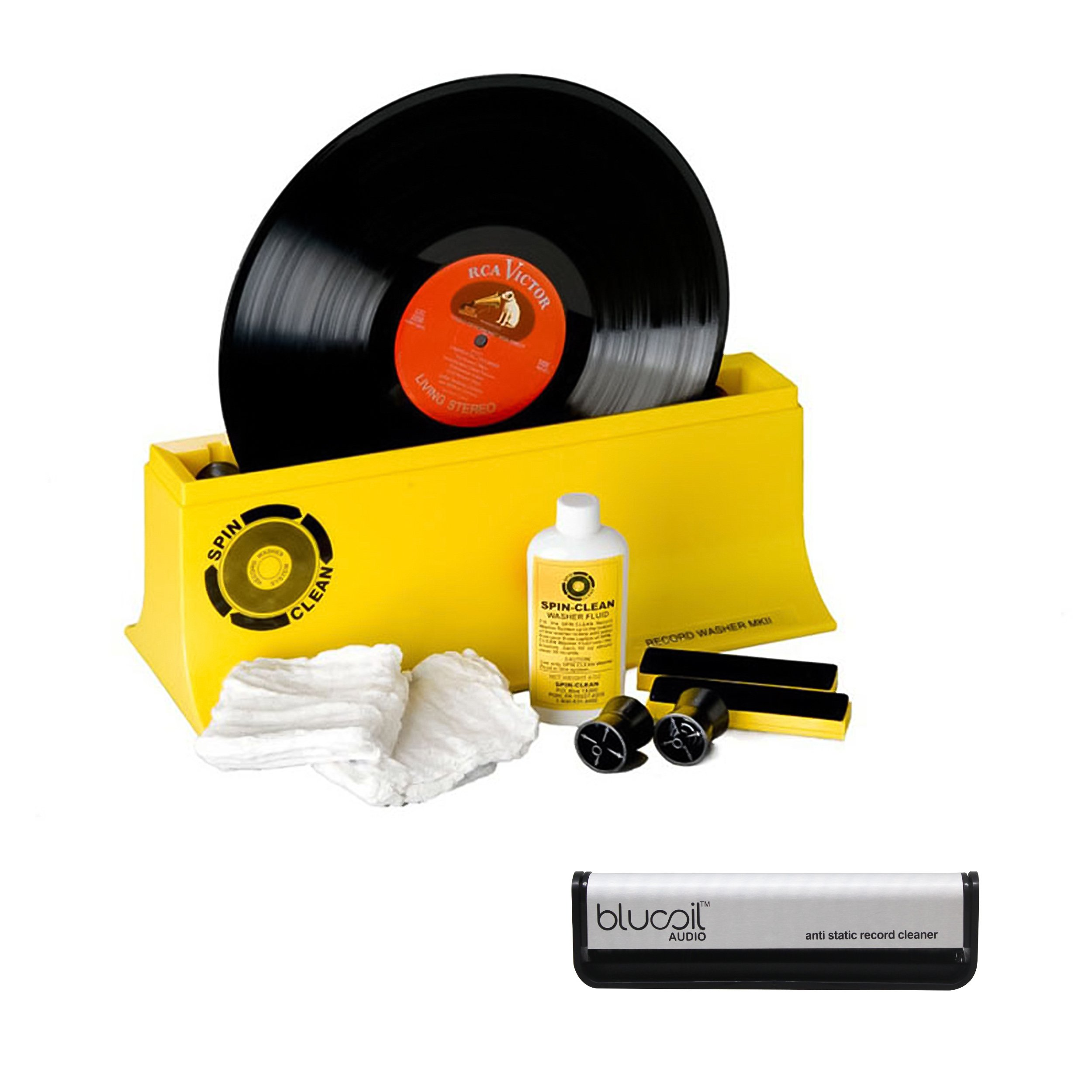 Spin Clean Starter Kit Record Washer System MK2 -PLUS- Blucoil Audio Anti-Static Carbon Fiber Vinyl LP Record Cleaning Brush