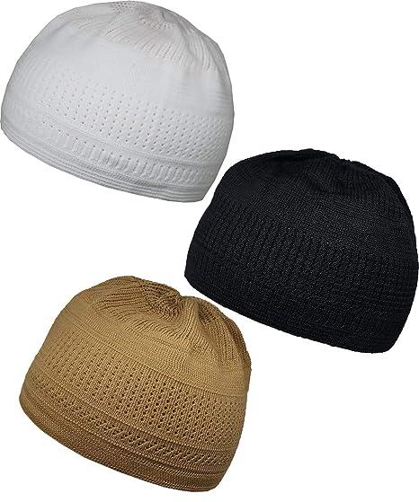 d8e55ae6d5d Al-Ameen Pack 3 Color Muslim Knit Cap Amn026 Kufi Topi Islam Hat Crochet  Takke Skull Beanie (Whit Black Brown) at Amazon Men s Clothing store