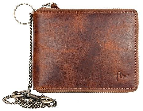 Herren Biker Reißverschluss Naturleder Geldbörse mit einer Metallkette 881db336c6