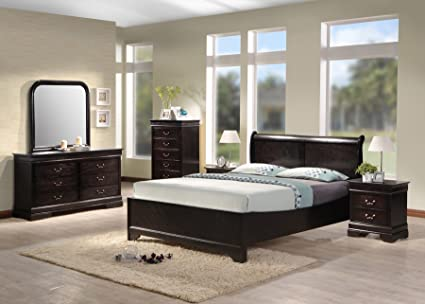 Best Quality Furniture B81QSet Queen Bedroom Set, Cappuccino