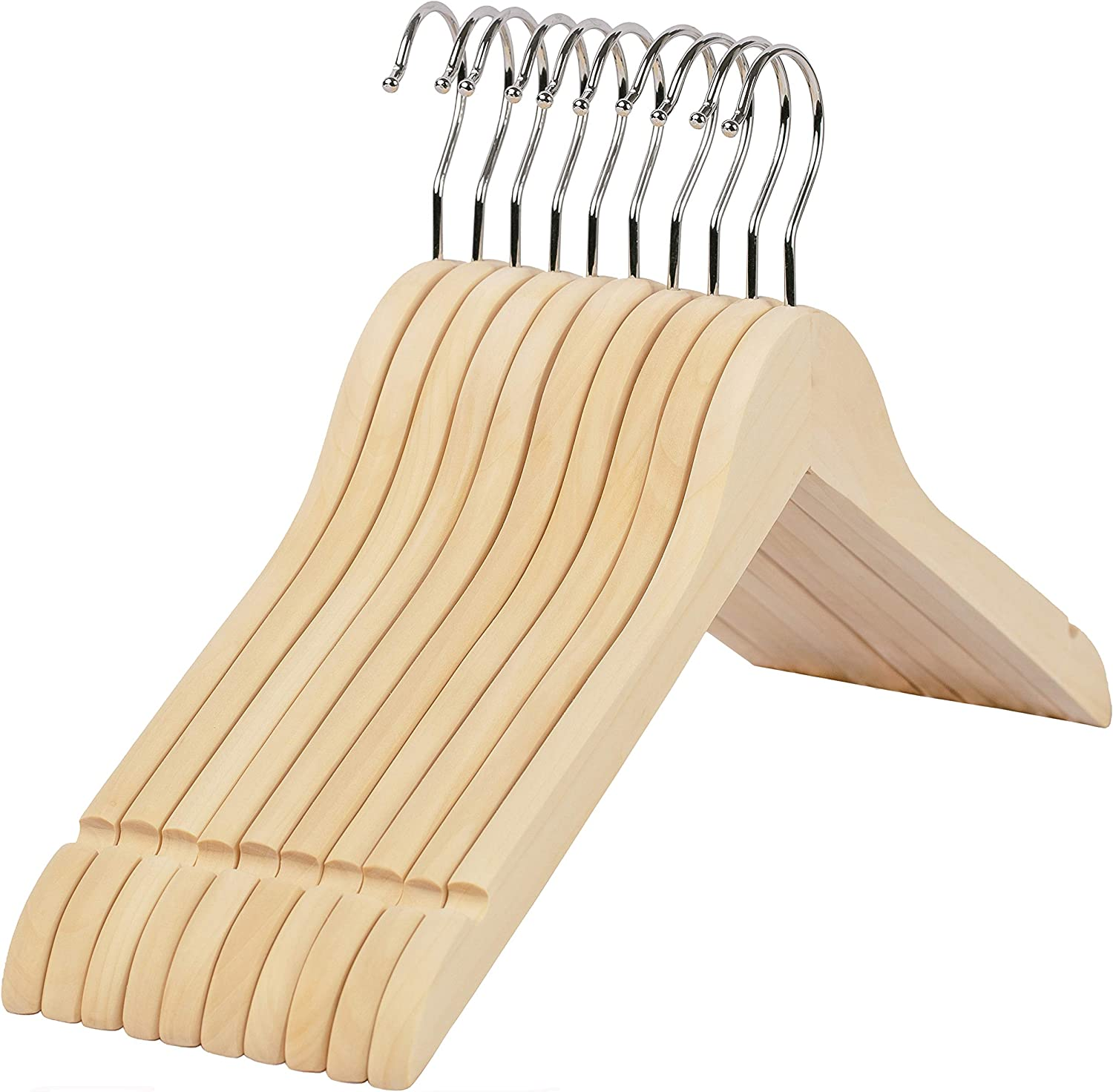 LEMU HOME Premium Adult Solid Unfinished/Natural Wood Coat Suit Shirt Jacket Dress Hangers, Wooden Clothes Hangers- 360° Stronger Swivel Hook- Smoothly Cut Notches-10 Pack- Natural Color LM01U