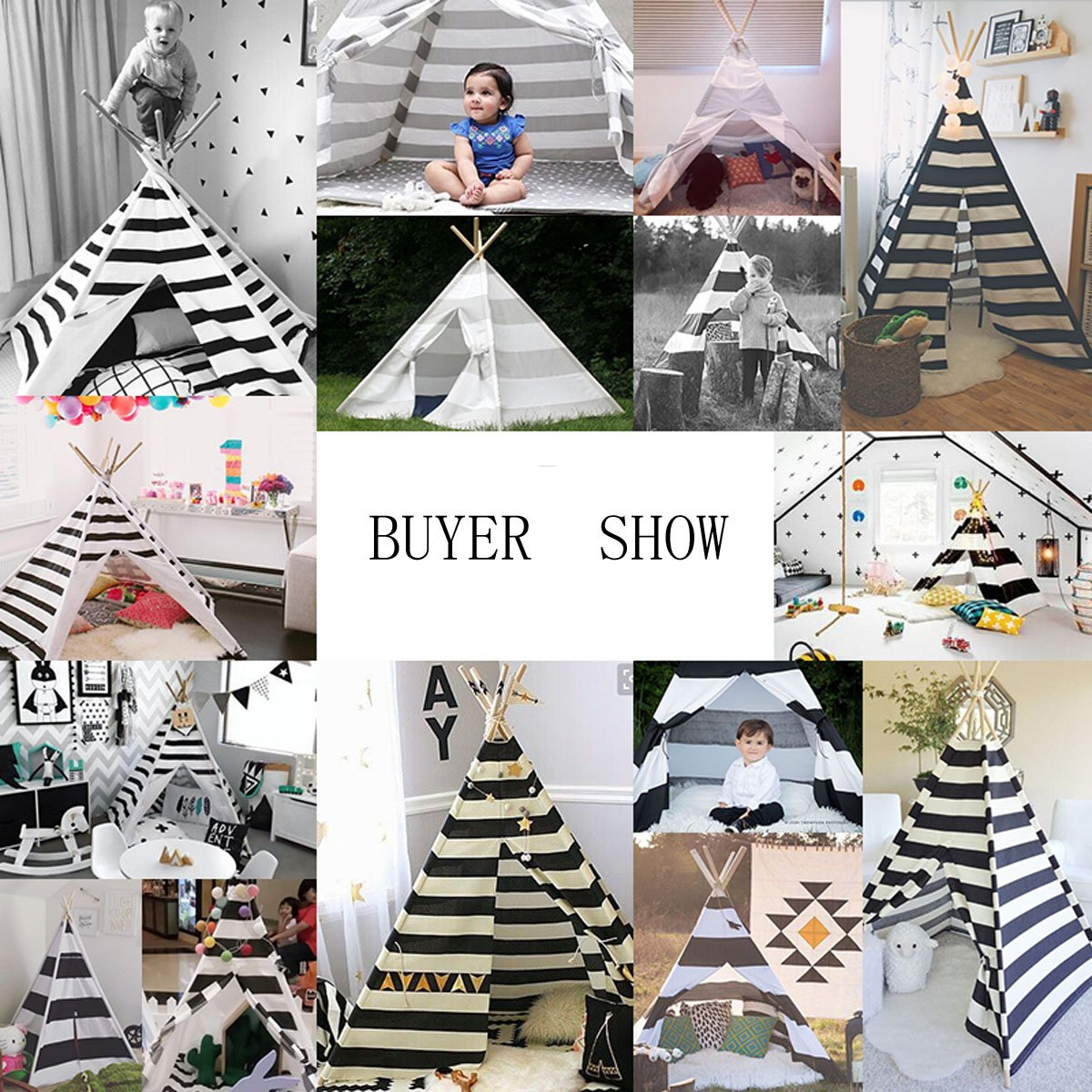 White and grey color New design children game room play tent indian Teepee with mat by FREE LOVE (Image #4)