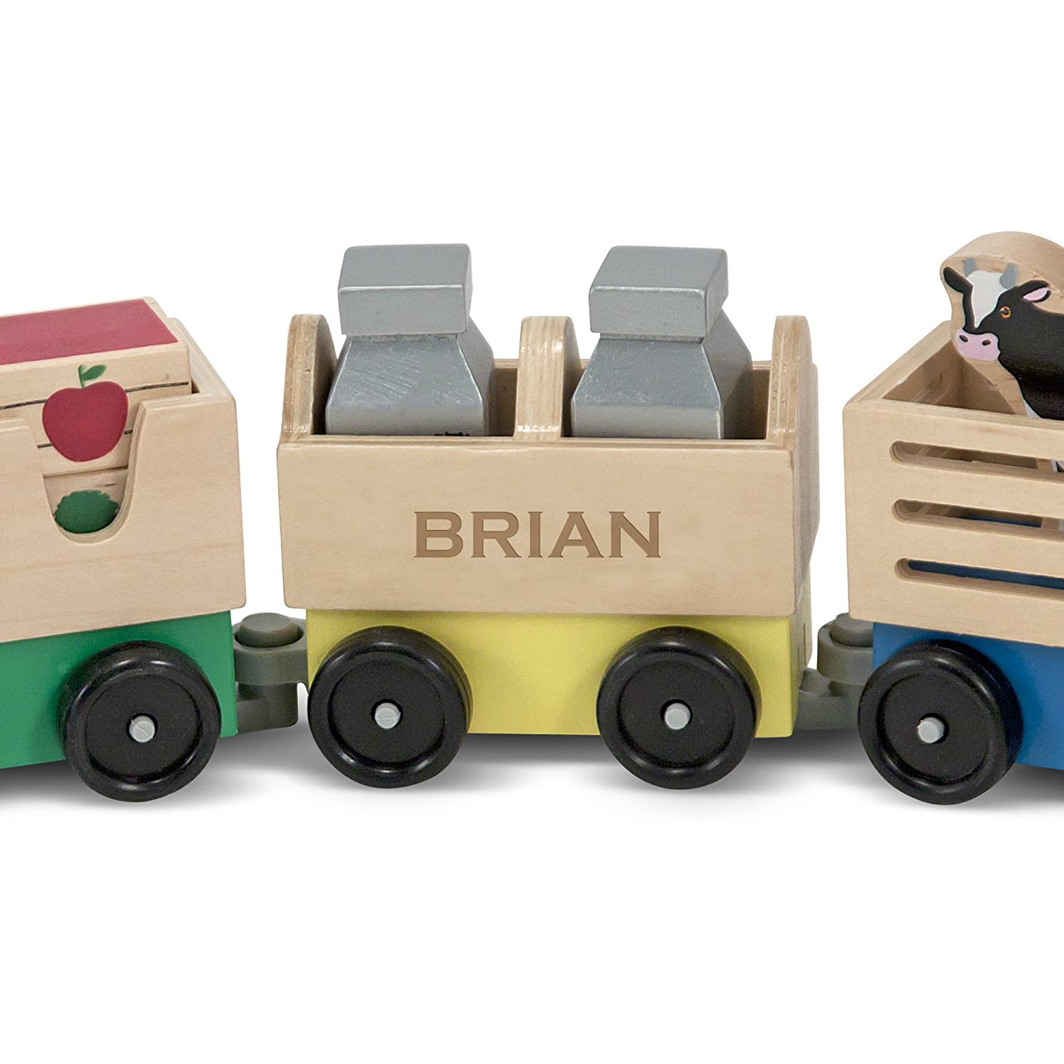 Swell Melissa Doug Personalized Farm Train Set 3 Linking Cars Classic Wooden Toy Machost Co Dining Chair Design Ideas Machostcouk
