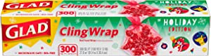 Glad Holiday Red ClingWrap Plastic Wrap 300 sq ft Roll