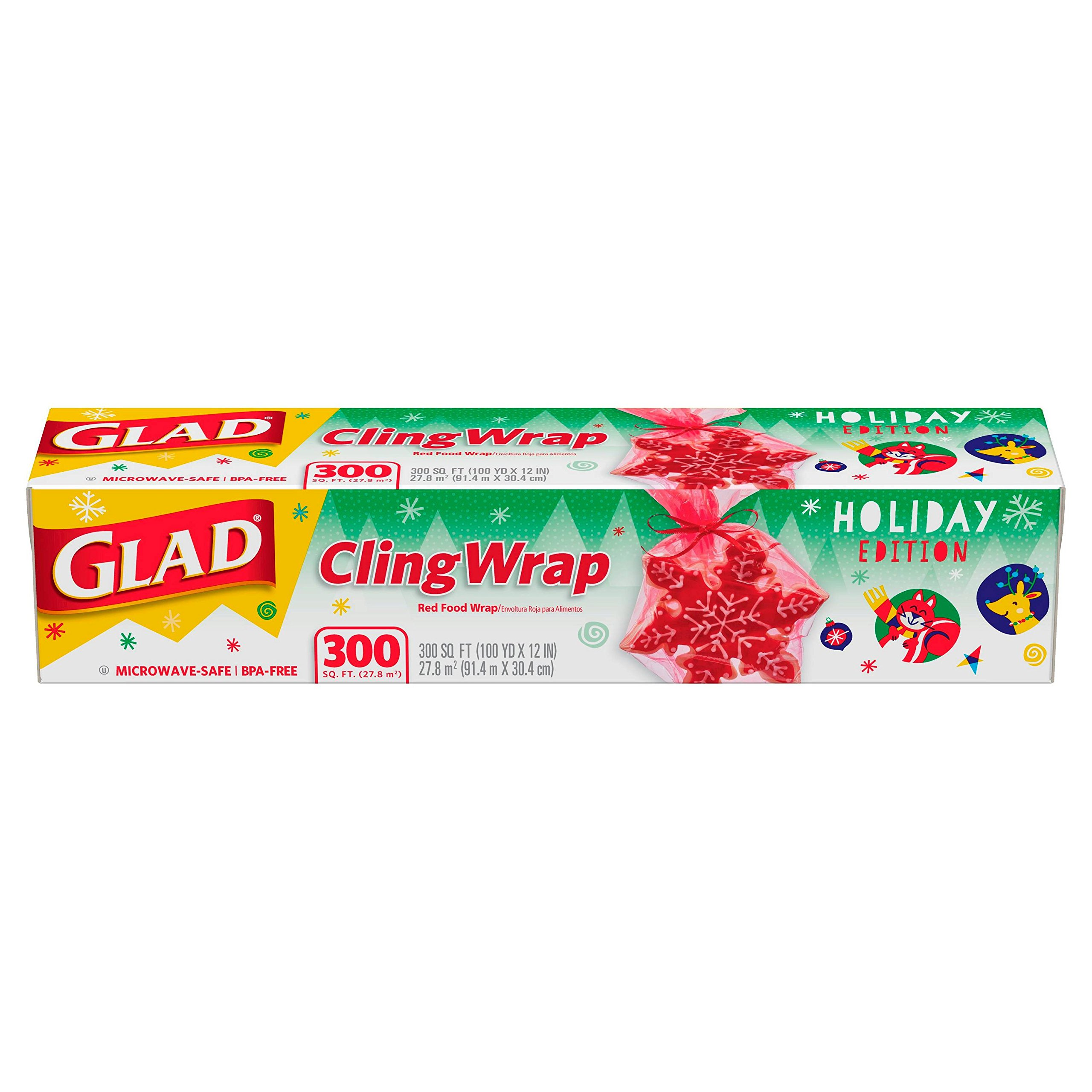 Glad Holiday Red ClingWrap Plastic Wrap 300 sq ft Roll by Glad