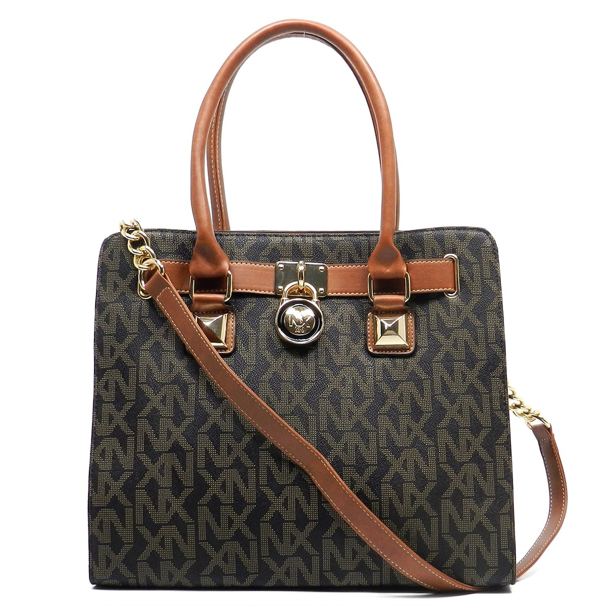 Noble Exchange NX Signature Print Padlock Tote Satchel Handbag (Brown): Handbags: Amazon.com