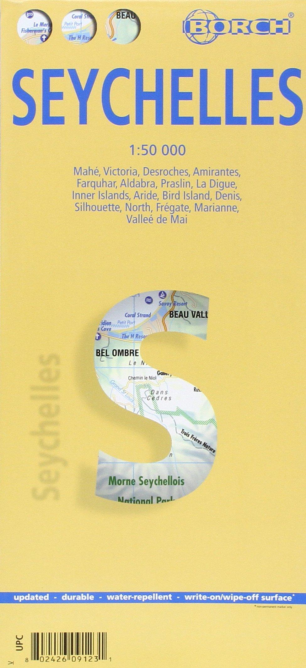 Seychellen: 1:50 000. Einzelkarten: Vaches, Denis, Arid, Fregate 1:25 000, Mahe, Silhouette, Praislin, La Digue, Marianne, Desroches, North 1:50 000, ... Amirantes, Farquhar 1:2 500 000 (Borch Maps)