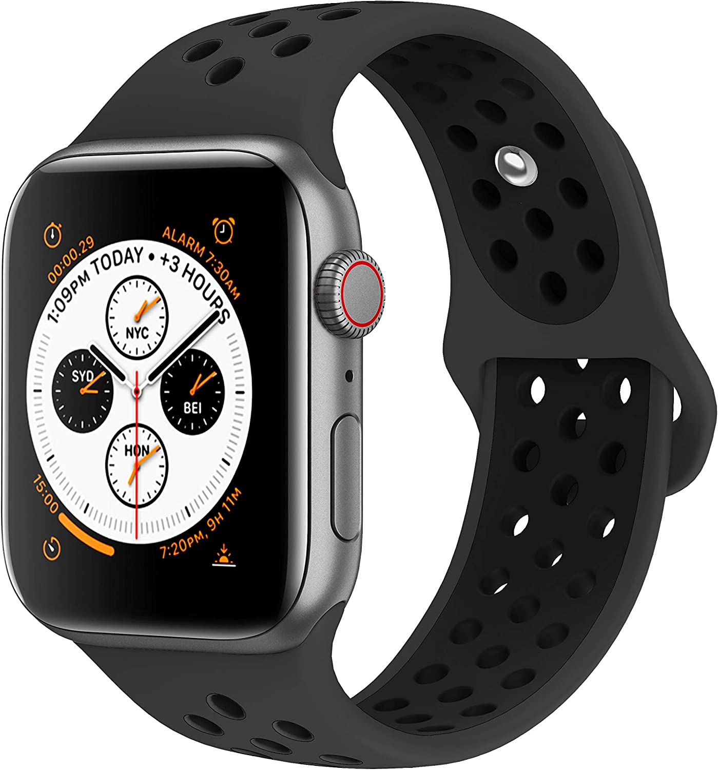 AdMaster Bands Compatible with Apple Watch 38mm 40mm 42mm 44mm, Soft Silicone Replacement Wristband Compatible with iWatch Series 1/2/3/4/5 81NzG3yZ8-L