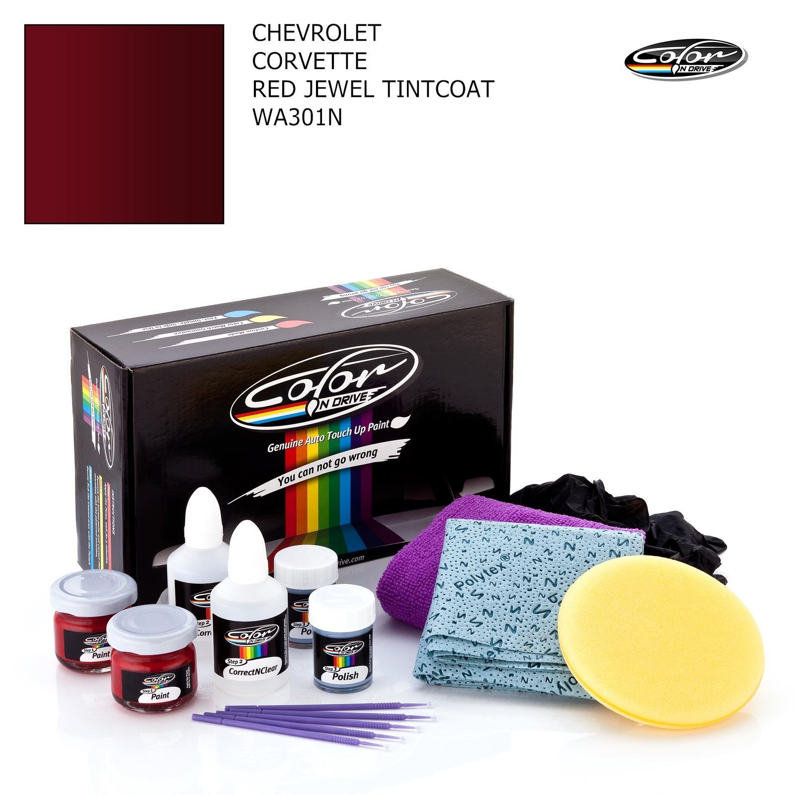 Chevrolet Corvette/RED Jewel TINTCOAT - WA301N / Color N Drive Touch UP Paint System for Paint Chips and Scratches/PRO Pack