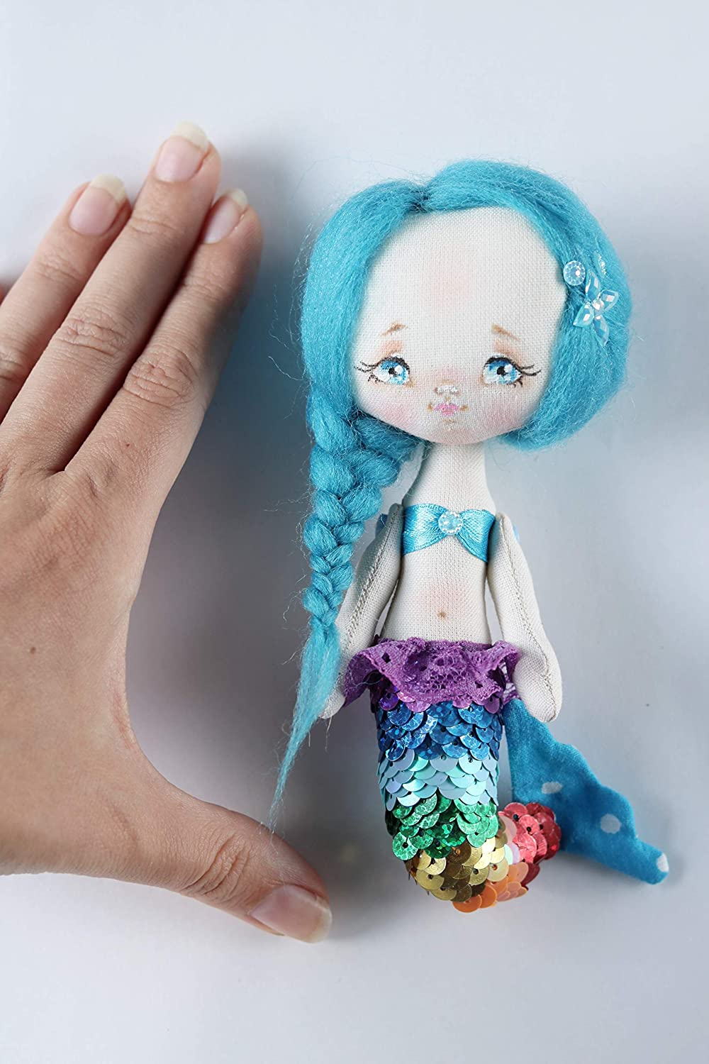 Textile doll Mermaid handmade Gift for the daughter Fabric doll Interior doll Art doll Rag doll Handmade doll Collectable Textile toy