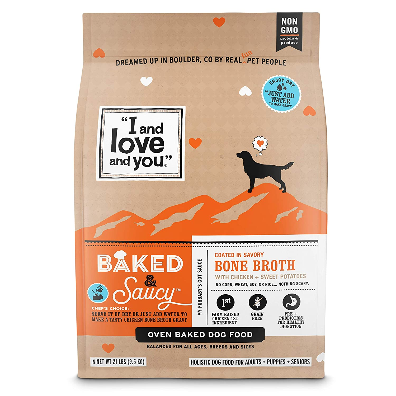 I and love and you Baked Saucy Grain Free Kibble Dry Dog Food with Gravy Coating Variety of Flavors