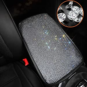 Moonlinks Bling Car Armrest Cover Auto Diamond Car Center Console Cover,Luster Crystal Arm Rest Rhinestone Crystal Center Console Cushion Pad Diamond Car Decor Accessories for Ladies(White)